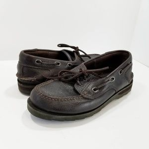 Clarks Falcon Shoes Leather Dark Brown Boat Shoes